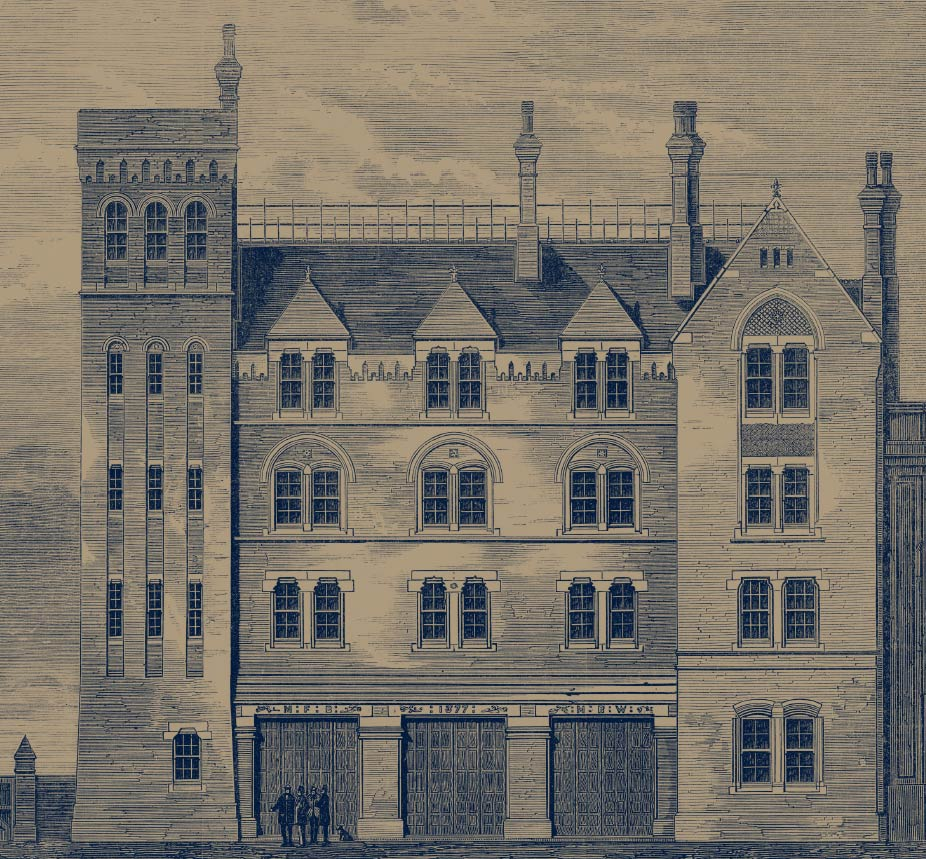 Etching of the firestation 1878 Brigade Court SE1 apartments